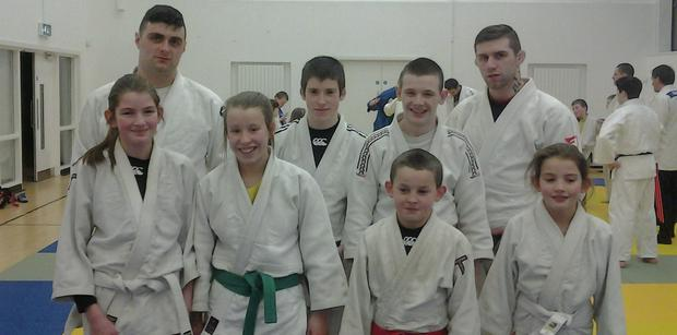 Muskerry Judo Club members at the 2014 All Ireland Championships: Shane, Lloyd, Niamh Looney, Margaret O Leary, Dean Looney, Tyrone Murphy, Ryan Delaney and Siobhan O'Leary