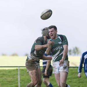 28/02/2015 Kanturks Sean Cremin celebrate his try with Luke McCabe at UBL Div 2B Kanturk RFC v Old Crescent at Knocknacolan. Picture: Janusz Trzesicki