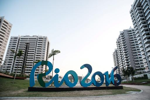 The logo of the Rio Olympic Games is seen at the Olympic and Paralympic Village in Rio de Janeiro, Brazil, on July 23, 2016. / AFP / YASUYOSHI CHIBA (Photo credit should read YASUYOSHI CHIBA/AFP/Getty Images)