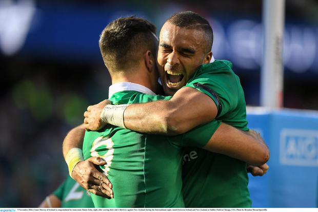 5 November 2016; Conor Murray of Ireland is congratulated by team-mate Simon Zebo, right, after scoring their side's third try against New Zealand during the International rugby match between Ireland and New Zealand at Soldier Field in Chicago, USA. Photo by Brendan Moran/Sportsfile