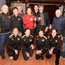 Cork Ladies Football captain Ciara O'Sullivan pictured at the launch of the Ger Murphy Perpetual Cup to be presented to the winner of the Duhallow 5k Road Classic. Included are Caroline O'Sullivan, Lisa Quirke Cashman, Noelle Foley Treacy, Jerry Twohig, Susan Looney, Donie Shine, Michael Murphy, Jerry Twomey, Shane Browne and John Sexton. Picture John Tarrant