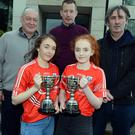 Under 15 doubles All Ireland Handball champions Muireann O'Brien (Kilworth) and Celine Kelleher (Boherbue) pictured with coaches Chris Hurley, John Horgan and Danny Lenihan at the Rebel Og Awards hosted in the Clayton Silver Springs Hotel. Photo by John Tarrant