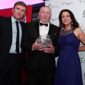 Cork Sports Award Hall of Fame recipient Dan Lane of Rylane Boxing Club receives his Award from Onoir O'Brien, Senior Advertising Executive RedFM Media with Award Sponsors; Michelle Carey, AIB Branch Manager Ballincollig; Ger Burgoyne Branch Manager Midleton with MC Dave Mac RedFM at a function in the Oriel House Hotel, Ballincollig
