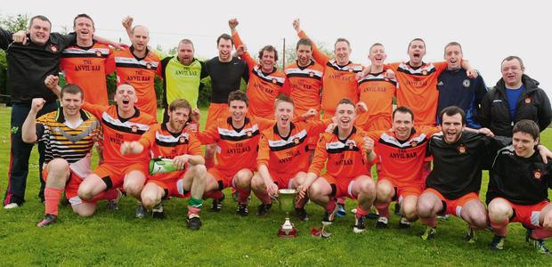 Rylane Celtic savour their Cork AUL Division 3B League playoff win over Newmarket. Photo by John Tarrant