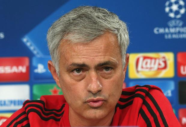 LISBON, PORTUGAL - OCTOBER 17: Manager Jose Mourinho of Manchester United speaks during a press conference in Lisbon, Portugal. (Photo by John Peters/Man Utd via Getty Images)