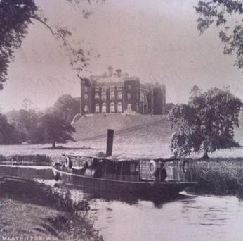 A barge going past Slane Castle in 1910 – what a way that would be to gatecrash the Bon Jovi concert this weekend!