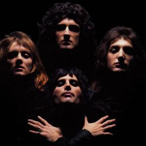 Queen in the iconic video for Bohemian Rhapsody.