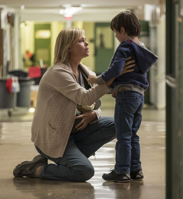 Charlize Theron as Marlo and Asher Miles Fallica as Jonah in Tully.