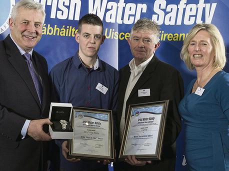 Craig Reay receives a Seiko 'Just In Time' award while Pat O'Shaughnessy from LMFM receives a Media Appreciation award from Minister Fergus O'Dowd and Breda Collins, Irish Water Safety Chairperson.