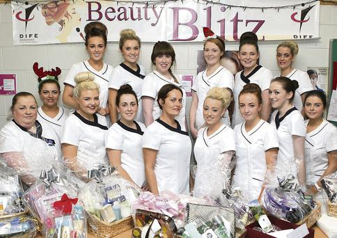 Students of DIFE who organised the annual Beauty Blitz in aid of local charities.