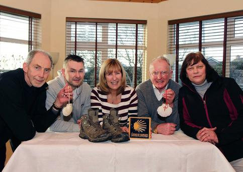 Ann Tracey (centre) of The Gary Kelly Cancer Support Centre, with Shane Mulroy (left) (Shamrock Villas), Damian McCarthy (Bridgeford Ris), Terry McHugh (Ballymakenny Road) and Mary Regan (Stamullen), announcing details of the upcomimg 'Answer Your Camino Call' fundraising event.