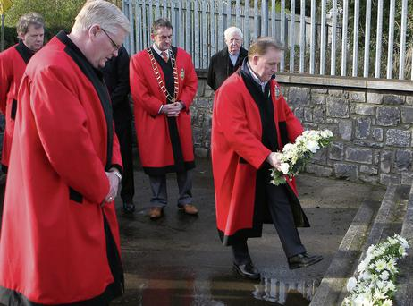 Members of Drogheda Borough Council laying wreaths at the Halpin and Moran memorial on Sunday morning.