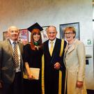Orlaith Duff from Lobinstown who was recently conferred with a honours degree in Sports Science and Health at DCU is pictured with her parents Tom Duff and Mairead McGuinness and Dr Martin McAleese, Chancellor, DCU