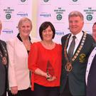 Greenhills accepted the schools award at the Badminton Ireland awards recently. Pictured are Badminton Ireland officials with Anne Nolan and Anne Marie Nolan