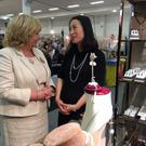 Senator Mary Moran with Helen Cui, from Helen Cui Jewellery Drogheda, at the Design and Crafts Council of Ireland Showcase 2016 in the RDS