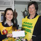 On Daffodil Day this year, the student council in Ardee Community school organised a collection to support this worthy cause. Student council representatives visited classes and collected €300 for the Irish Cancer Society. They also helped out with the collection outside the local shops. The cheque was presented by Isabella Mc Cormac, chairperson of the student council, to Ms. Ruth Kieran, representing the Irish Cancer Society