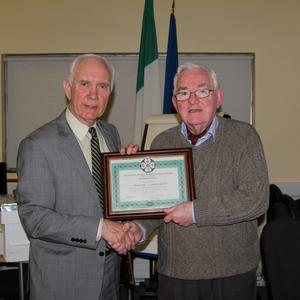 Philip McCabe, President, Apimondia International Beekeeping, presenting Tom Shaw, Hon. Secretary of Federation of Irish Beekeepers with his Bee Master Certificate at Teagasc Dundalk recently. Both Philip and Tom are members of Louth Beekeepers Association