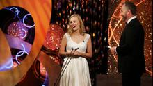 Meath Rose Elysha Brennan chats with Daithi O Sé at the Rose of Tralee in Kerry.
