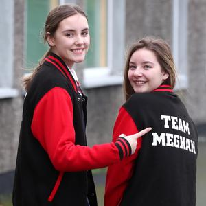 Aoife and Katie Lynch pictured back at school on Monday. The girls were successful on their appearance on The Voice UK and are on the team of Meghan Trainor