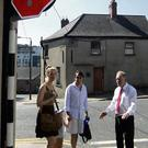 Cllr Byrne with residents at the junction.