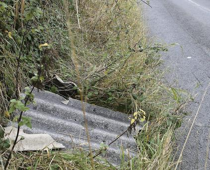 A dog walker stumbled across asbestos dumped in the ditches on both sides of the Old Slane Road last Wednesday afternoon.