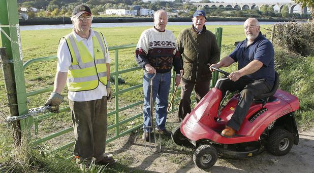 Donor's Green volunteers George Floyd, Noel Carr and Brendan O'Brien found a padlock on the gate when they went to cut the grass on Monday. Picture: Paul Connor