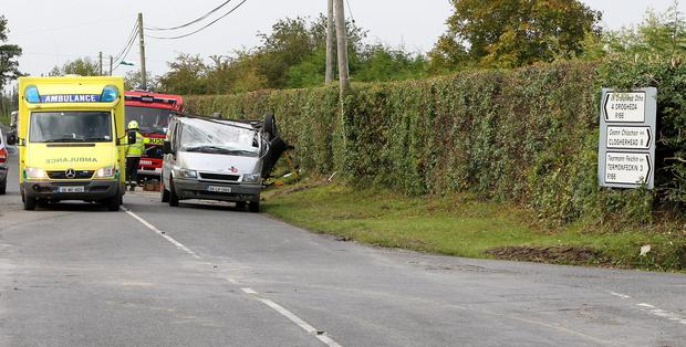 The scene of the fatal collision at Beaulieu cross which claimed the life of Emily Maguire Kennedy. Picture: Paul Connor.