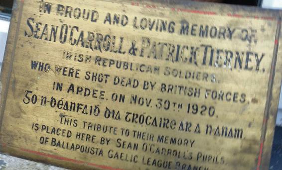The plaque to O'Carroll and Tierney that was never erected.