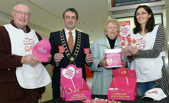 At the Lollipop Day in aid of Oesophageal Cancer Support Fund Launch at the Laurance Town Shopping Centre were Christopher Doggett, Mayor Richie Culhane, Eithne Doggett and Sharon Taylor.