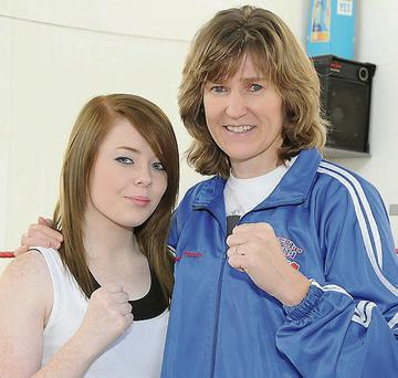 Former world champion boxer Deirdre Gogarty with Michaela Stowe.