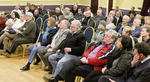Some of those in attendance at the meeting to discuss the reopening of Dunleer Railway Station in the Grove Hotel.