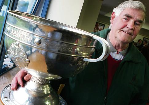 Patsy Coleman with the Sam Maguire Cup.