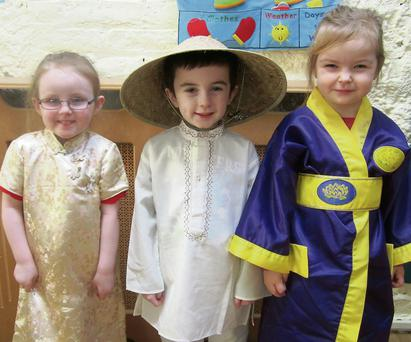 Megan O'Heiligh, Ciaran Counihan and Juliette Jackson enjoyed their 'Asia' trip as part of the Playmates school event.