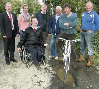 Local residents on the Fieldstown Road with Cllr. Tommy Byrne.