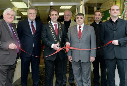 Mayor Richie Culhane officially opens the shop, which supports Action Against Addiction, on West Street last Wednesday.