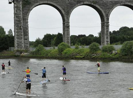 Paddle-boarding on the Boyne during the Maritime Festival at the weekend.