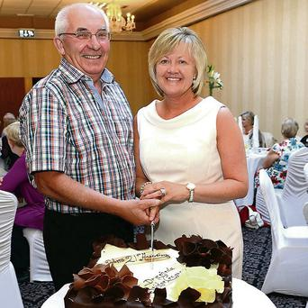 Drogheda and District Bridge Congress Celebrating 21 Years, Paddy Bonner the First President of the Congress and Catriona Bellew the Present President at the Westcourt Hotel Pic Jimmys People