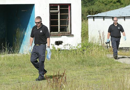 Kidnapping incident Co. Louth. Crime scene Gardai at the disused farm buildings at Newtownstalaban.