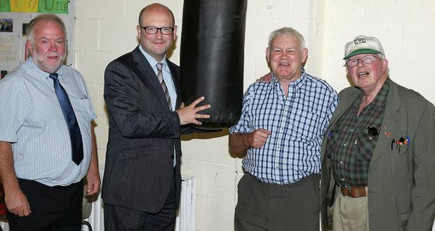 Hugh Conlon, Harry Smith and Pat Dillon of Collon Boxing Club with Minister Gerald Nash at the clubs trainging facility in Collon Parish Hall. The Boxing club were recently awarded a four thousand euro sports capital grant.