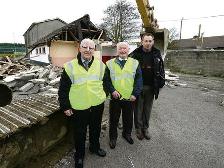 Jimmy Maguire, Joe Furness and Mick Toner at the demolition of the old clubhouse.