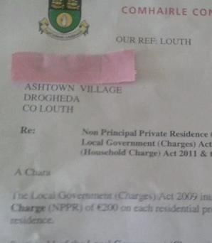 The mistaken address of Ashtown Village, sent to homes in Aston Village.