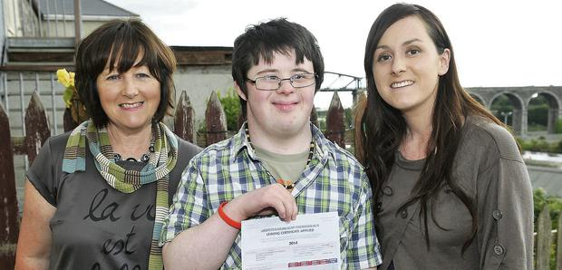Conor O'Dowd with his mother Audrey and his sister Daire.
