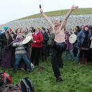 Enjoying the occasion at the Winter Solstice in Newgrange