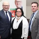 Ged Nash with former Clery's worker Susie Gaynor and John King at Ged's election campaign launch