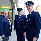 On the beat for the last time, retired Superintendent Gerry Smith and Chief Supt Sean Ward, meet Anthony Kimmons from the Drogheda Town Centre