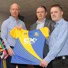 John Fox (left), CX + Sport with John Mulligan and John Savage, The Argus at the official launch of 'Gear up for Sport' in Horseware Headquarters, Finnabair Industrial Estate, Dundalk