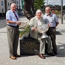 Joey Maher, former world handball champion with the Sam Maguire Cup pictured with Cuthbert Donnelly and Pat Haigney, Colpe, at Scoth Hall. Pic Jimmy Weldon