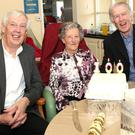 Louise McGowan with her sons Kevin and Jack at a party in St Ursula's to mark her 100th birthday