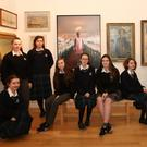 Students from St Oliver's Community College and Our Lady's College Greenhills, Hannah Murphy, Aoife Craddock, Niamh Mc Donnell, Aoife Burke, Niamh Woods, Jennifer O'Connor, Ella Murphy, Grainne Smith, May Clinton and C McArdle chose art works from both The British Council and Drogheda Municipal Art Collections to curate their group exhibition at Highlanes Gallery. Photo - Jenny Matthews