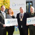 Anthony McArdle, Louth PPN, Charlene Duff, ISPCC, and Louth PPN, Paul Bell, Louth Council Cathaoirleach, Tony Mullins, Boyne View Residents Association, and Rory Johnston, Argus, at the launch of the Louth Public Participation Network Awards. Picture: Suzanne Collins